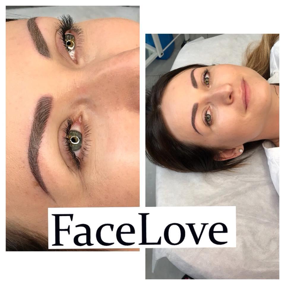 Makijaż permanentny brwi wykonany metodą włosa na dawnym microbladingu