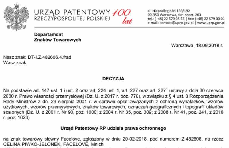 FaceLove - decyzja przyznania prawa ochronnego na znak towarowy przez Urząd Patentowy RP